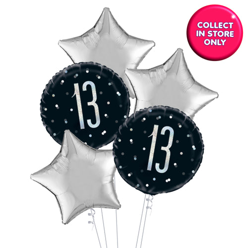 Black and Silver Glitz 5 Balloon Bouquet Age 13 - 100 Years INFLATED