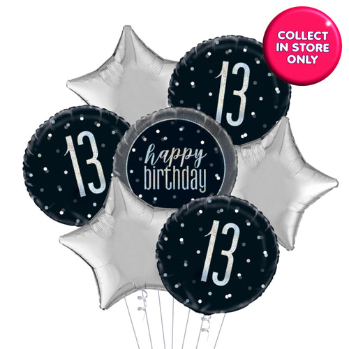 Black Glitz 7 Balloon Bouquet Age 13 - 100 Years INFLATED