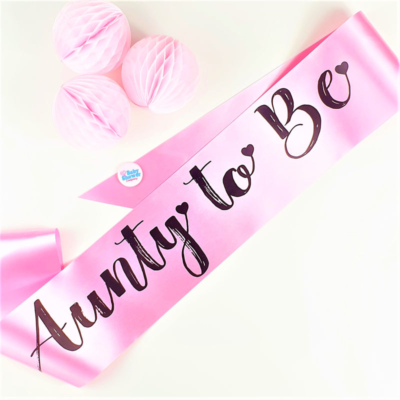 Aunty to Be Sash - Pink - Uk Baby Shower Co ltd