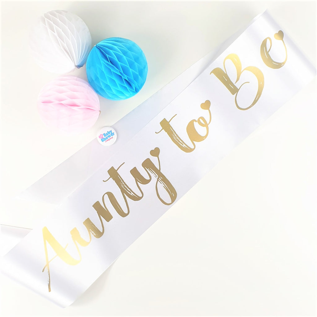 Aunty to Be Sash - White - Uk Baby Shower Co ltd
