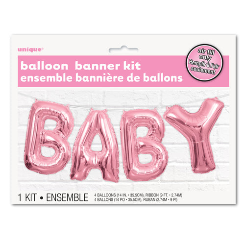 Pink BABY Foil Balloon Banner Kit