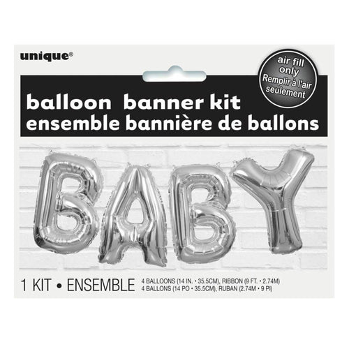 Silver BABY Foil Balloon Banner Kit