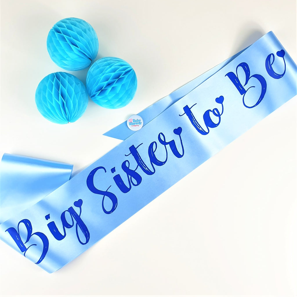 Big Sister to Be Sash Large - Blue - Uk Baby Shower Co ltd