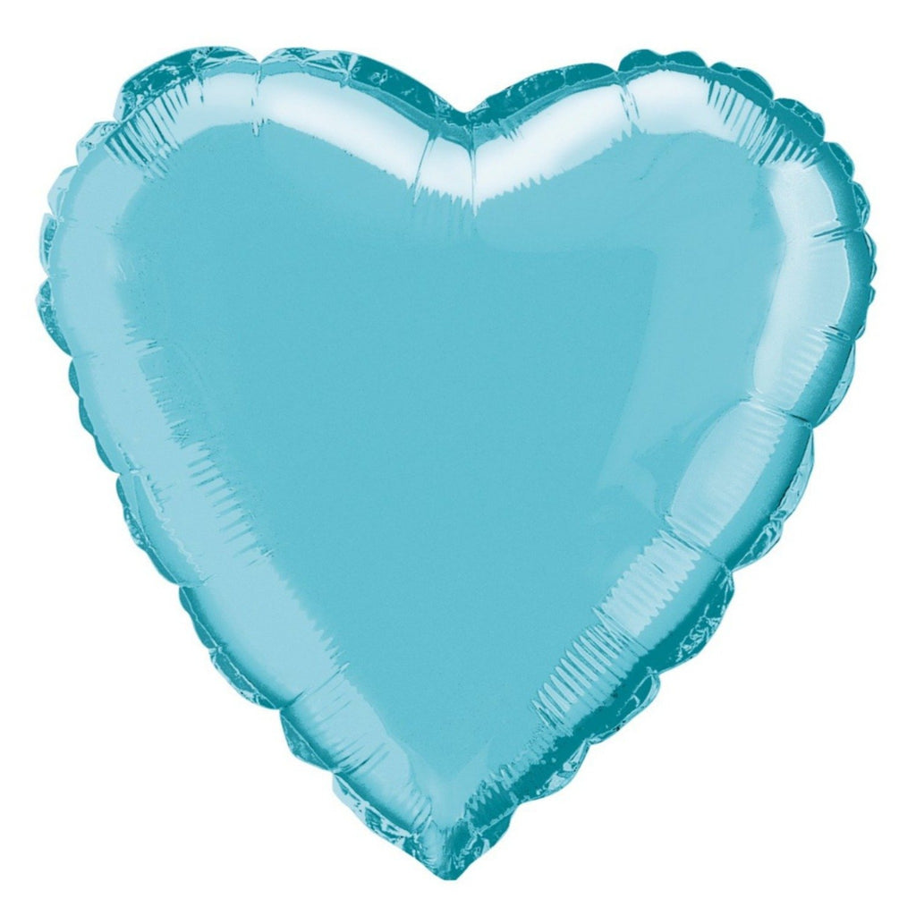 Baby Blue Heart-Shaped Foil Balloon INFLATED