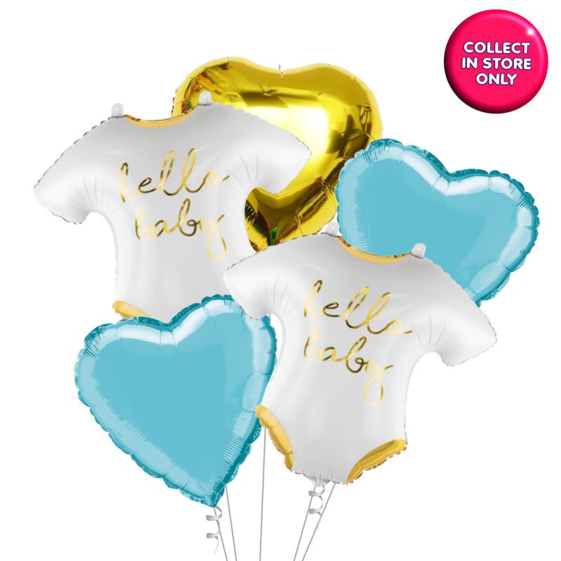 Hello Baby - Vest Shaped Balloon - Helium Inflated (Blue Theme)