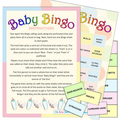 Baby Bingo Party Game - Uk Baby Shower Co ltd
