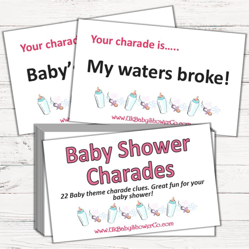 Baby Shower Charades Game - Uk Baby Shower Co ltd