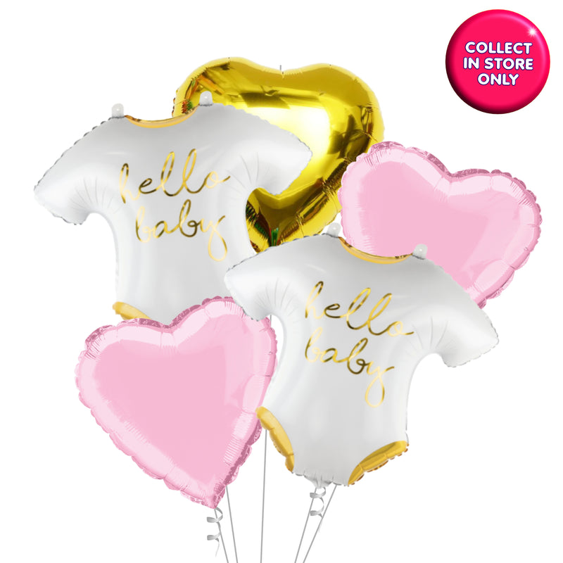 Hello Baby - Vest Shaped Balloon - Helium Inflated (Pink Theme)