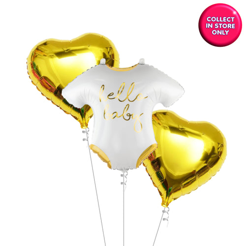 Hello Baby - Vest Shaped Balloon - Helium Inflated (Gold Theme)