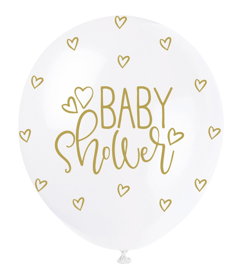 Baby Shower Gold Hearts Balloons - Uk Baby Shower Co ltd
