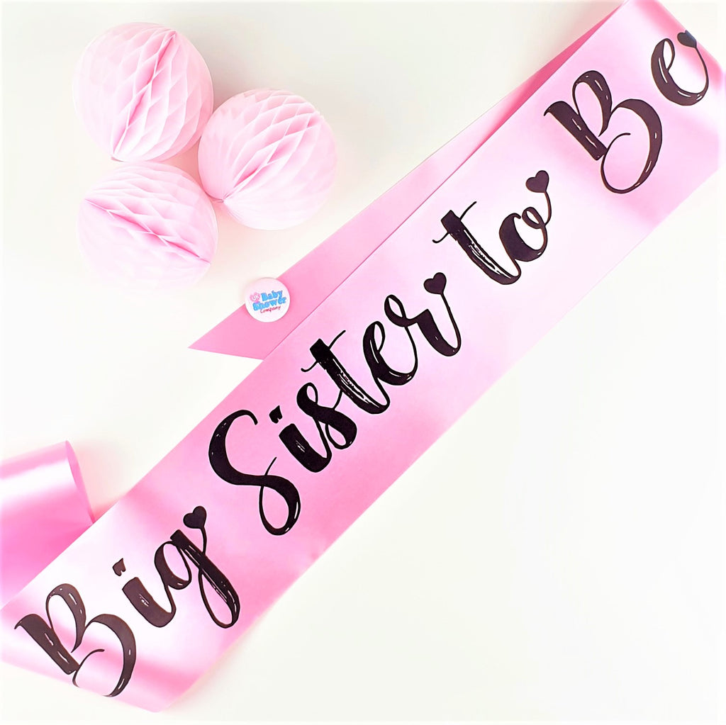Big Sister to Be Sash Large - Pink - Uk Baby Shower Co ltd
