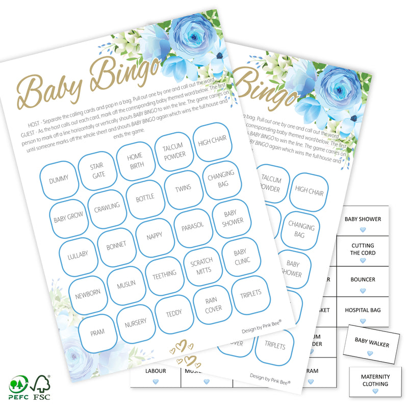 Blue Floral Baby Bingo Game