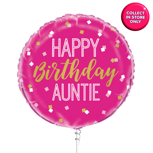 Happy Birthday Aunty Balloons - Helium Inflated
