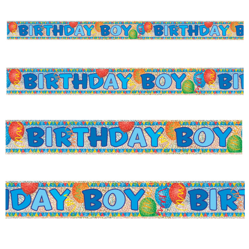 Birthday Boy Prismatic Foil Banner - Uk Baby Shower Co ltd