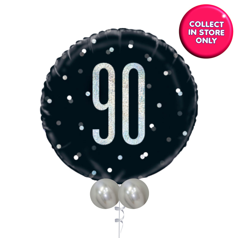 Single Black Glitz Balloon in Milestones Age 13 - 100 Years INFLATED