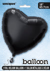 Black Heart-Shaped Foil Balloon INFLATED