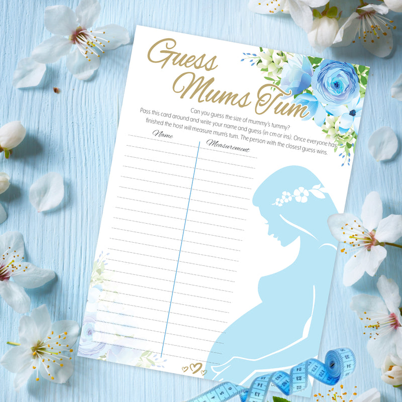 Blue Floral Guess Mums Tum Party Game