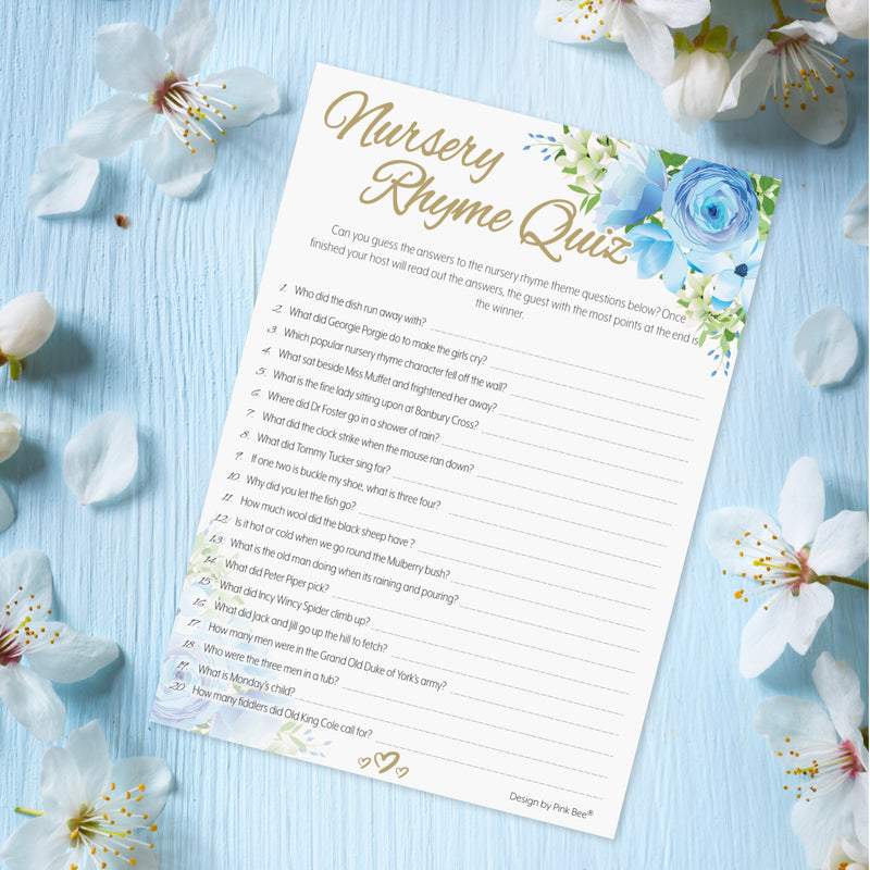 Blue Floral Nursery Rhyme Quiz Game