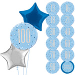 Blue and Silver Glitz 3 Balloon Bouquet Age 13 - 100 Years INFLATED