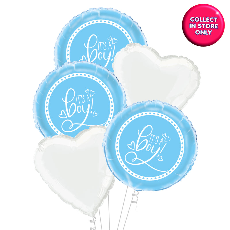 Its a Boy Balloon by Blue Hearts - Helium Inflated