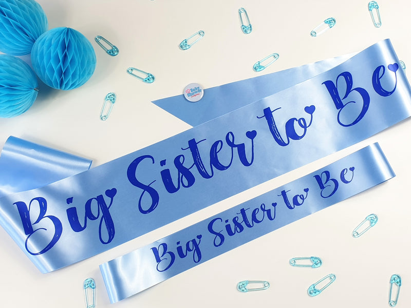Big Sister to Be Sash Small - Blue - Uk Baby Shower Co ltd