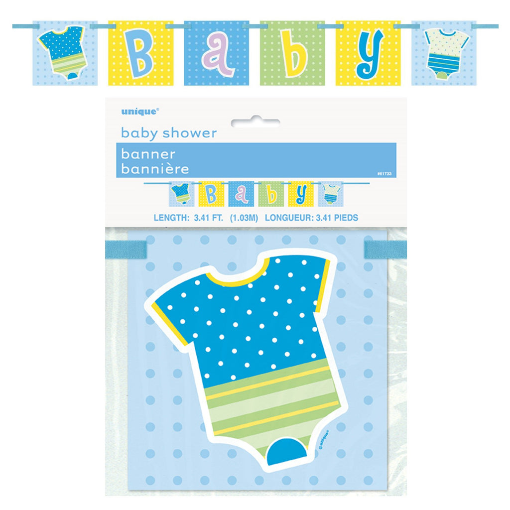 Blue Baby Ribbon Block Banner,[product type] - Baby Showers and More