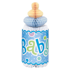 Blue Dotty Baby Honeycomb Bottle Decoration - Uk Baby Shower Co ltd