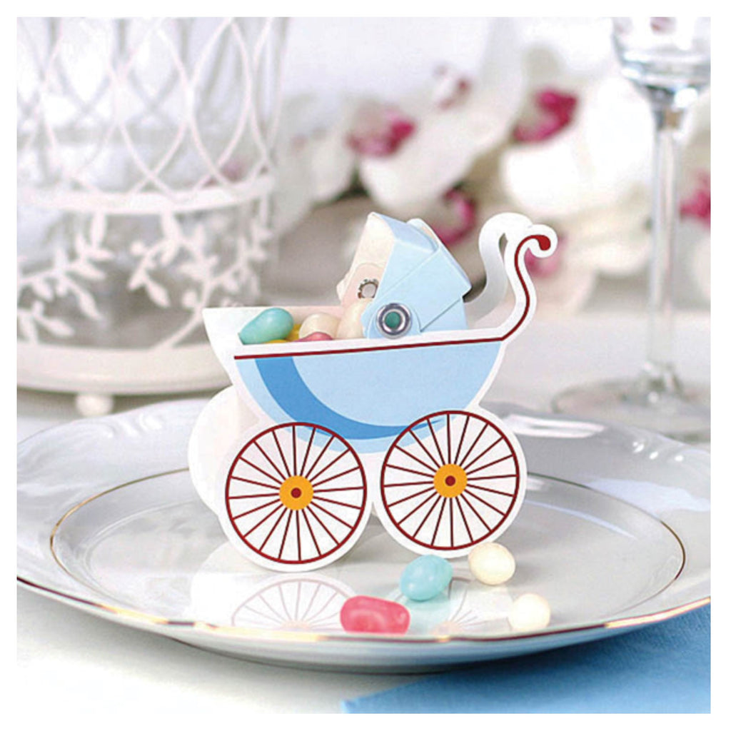 Blue Pram Favour Boxes