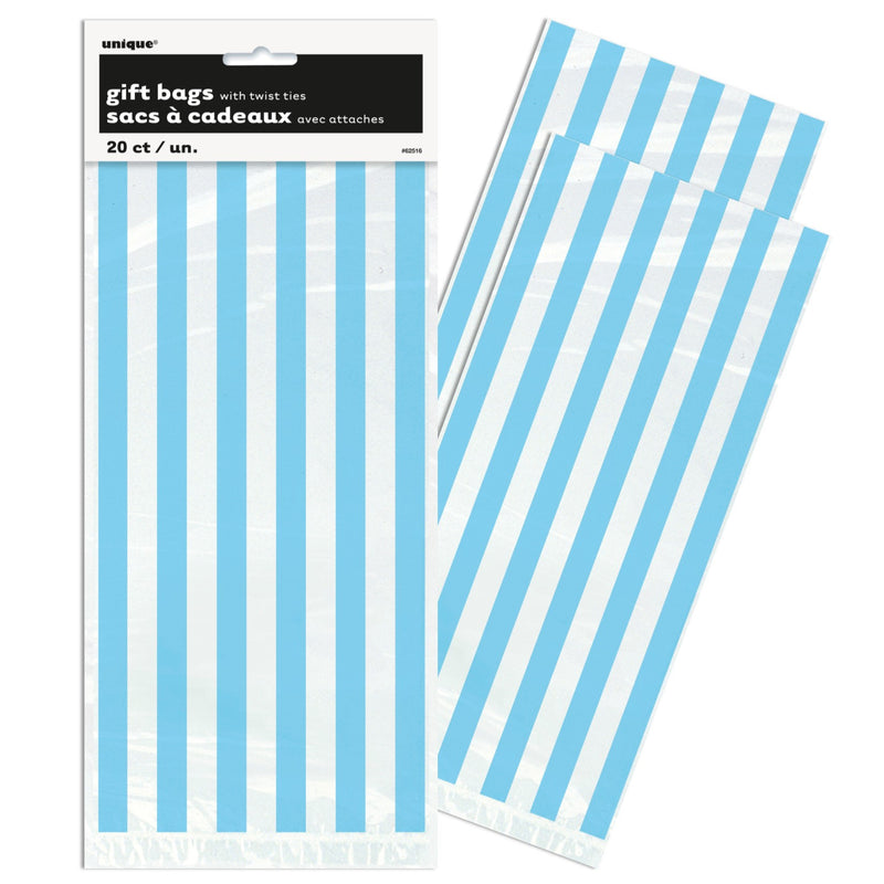 Blue Stripe Cello Party Bags - Uk Baby Shower Co ltd