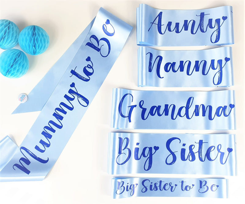 Aunty to Be Sash - Blue - Uk Baby Shower Co ltd