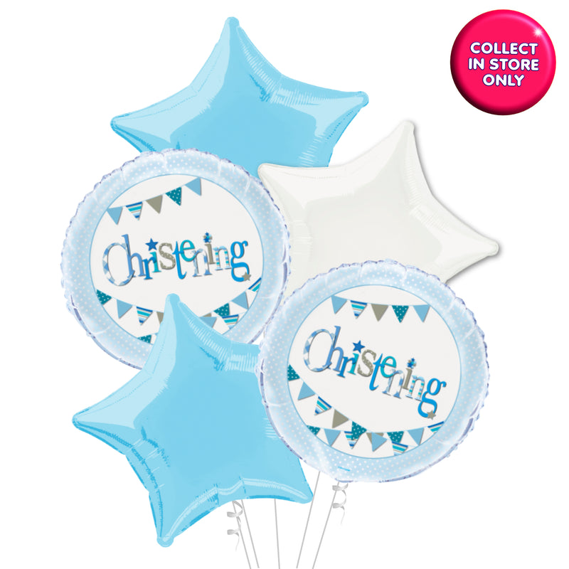 Blue Bunting Christening Balloon - Helium Inflated