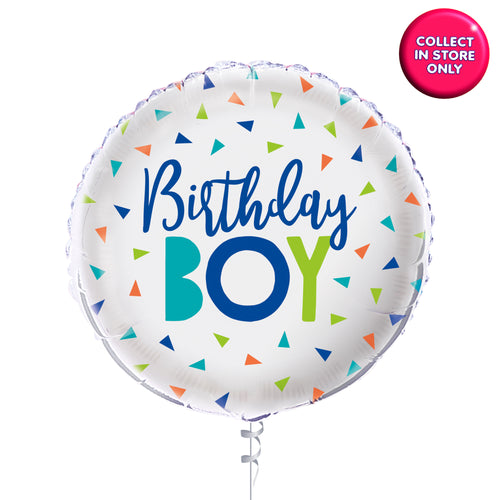 Confetti Birthday Boy Balloon - Helium Inflated
