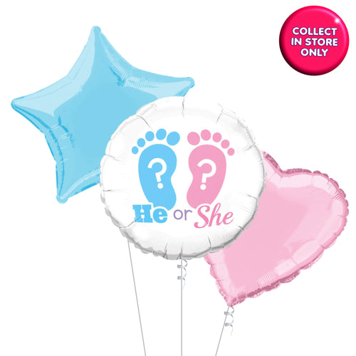 Gender Reveal Balloons He or She - Helium Inflated