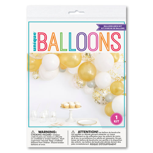 Gold, White and Silver Balloon Arch Kit DIY