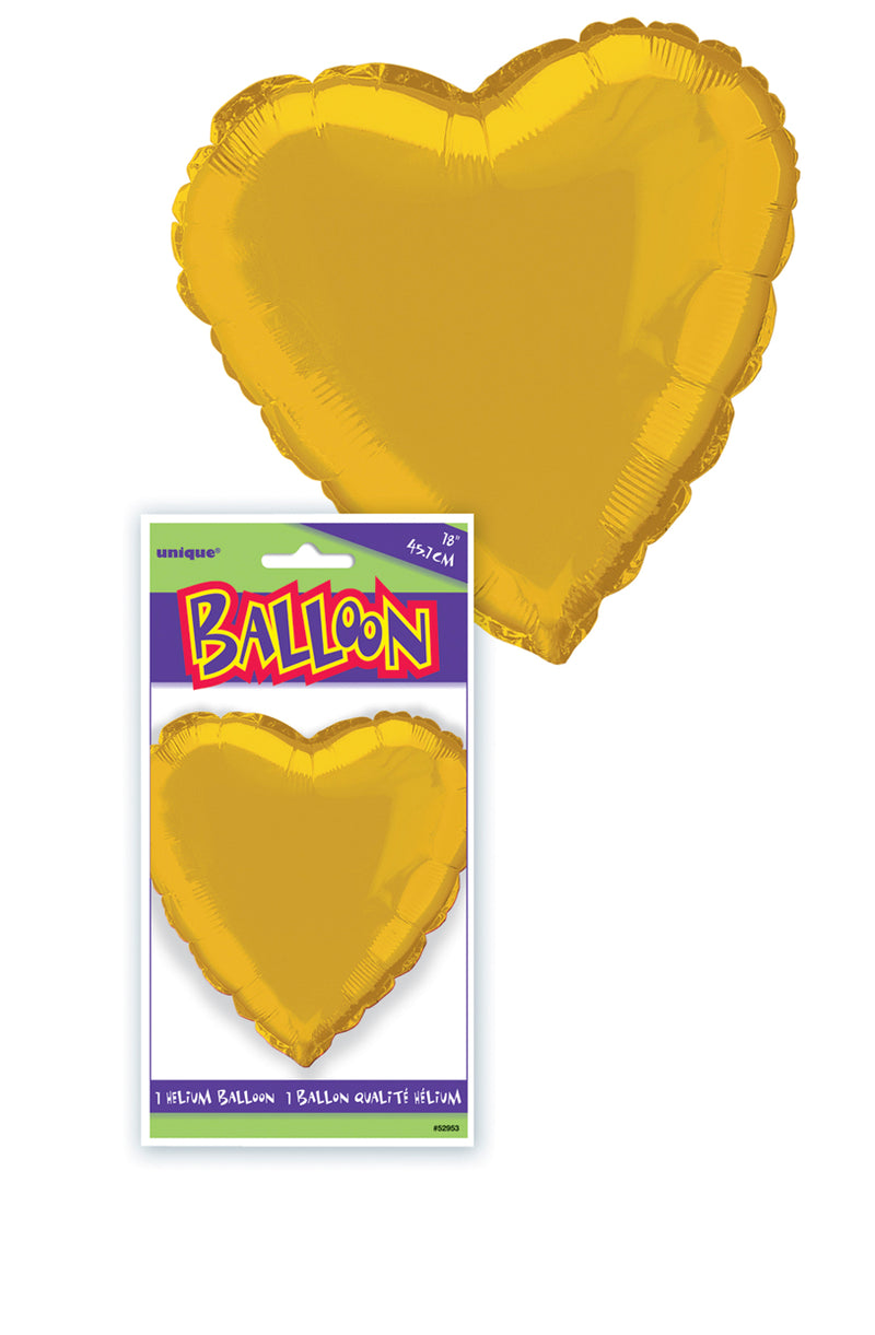 Gold Heart-Shaped Foil Balloon INFLATED