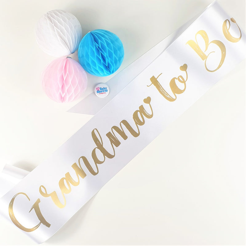 Grandma to Be Sash - White - Uk Baby Shower Co ltd