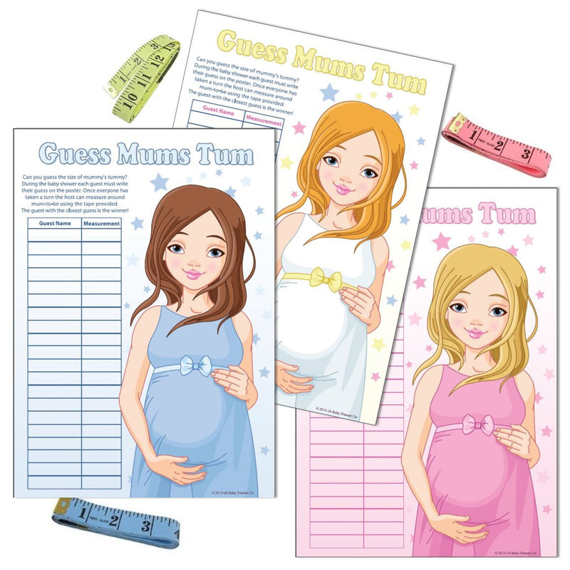 Stars Guess Mums Tum Party Game,[product type] - Baby Showers and More