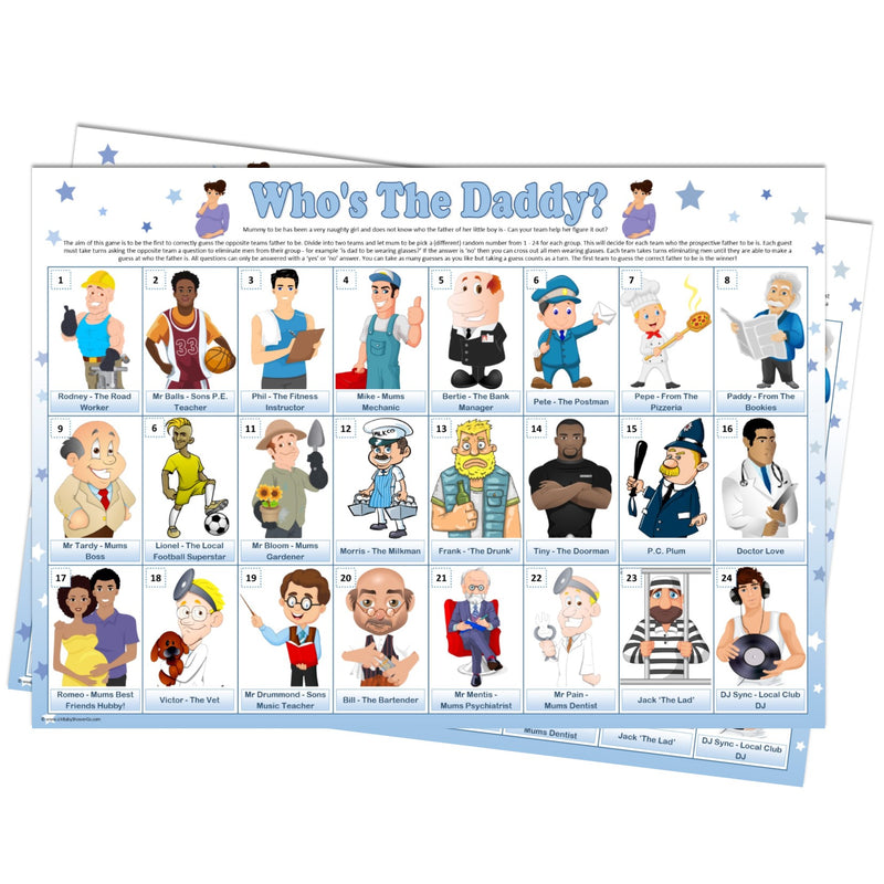 Guess Who's the Daddy Team Game - CLEARANCE - Uk Baby Shower Co ltd