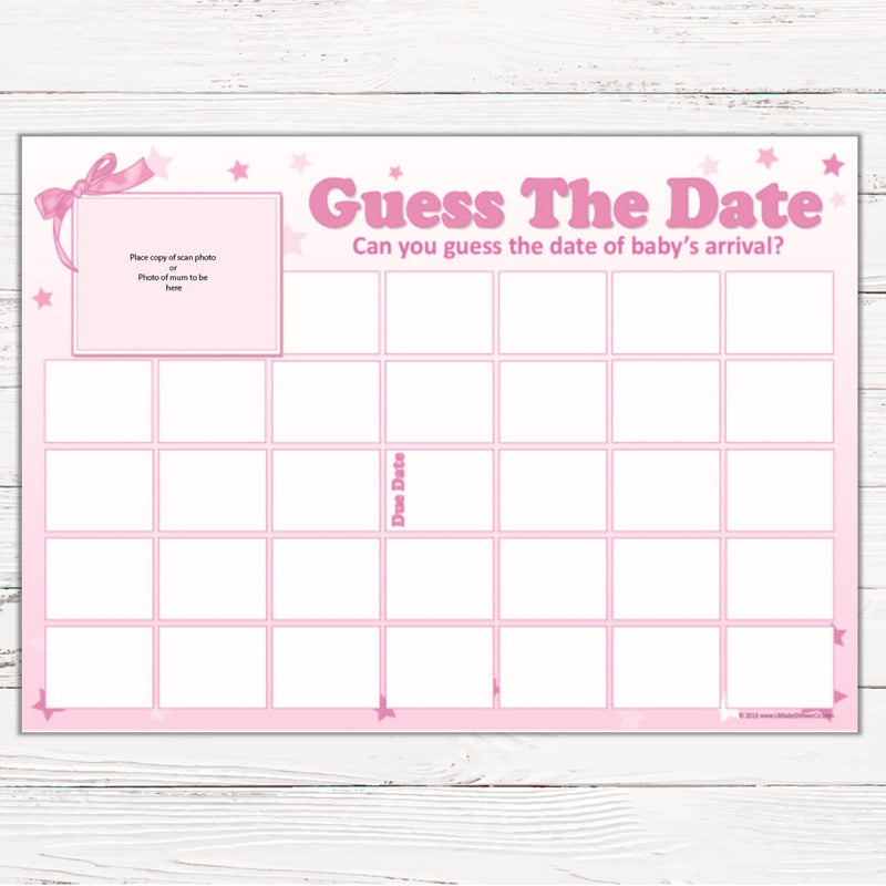 Guess The Date Sweepstake Game - Uk Baby Shower Co ltd