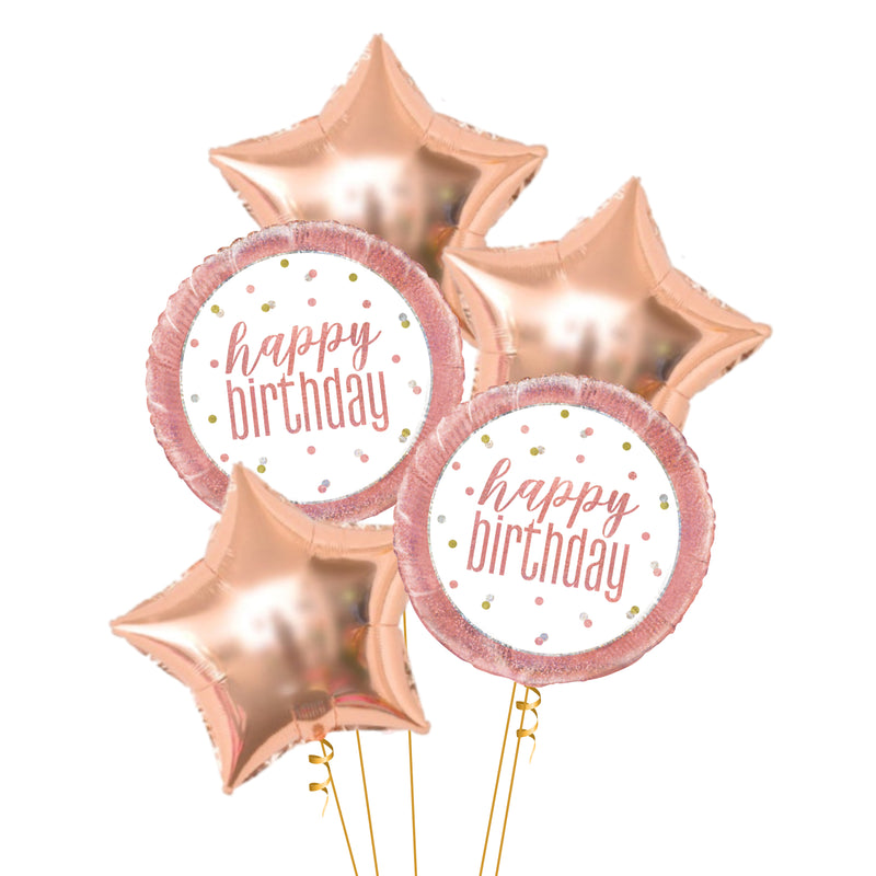 Rose Gold Glitz Foil Happy Birthday Girl Balloon - Helium Inflated