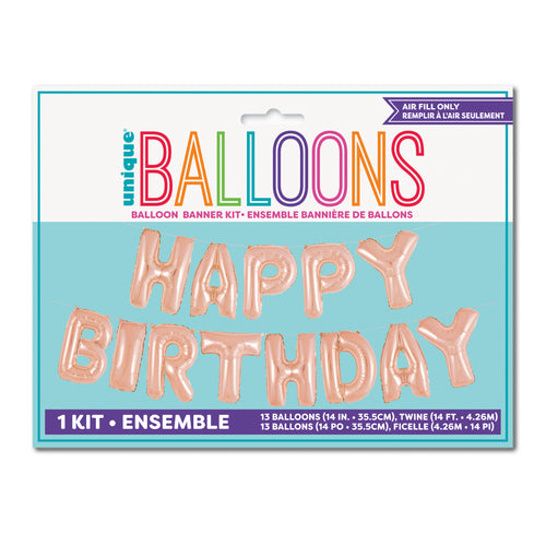 Rose Gold Happy Birthday Phrase Foil Balloon Banner