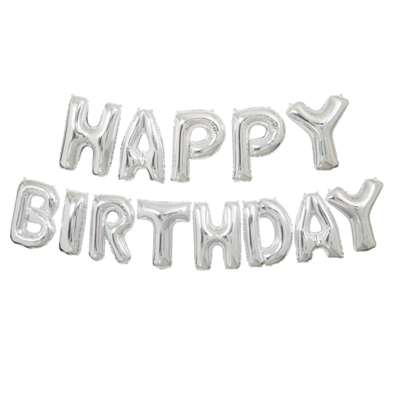 Silver Happy Birthday Foil Phrase Balloon Banner