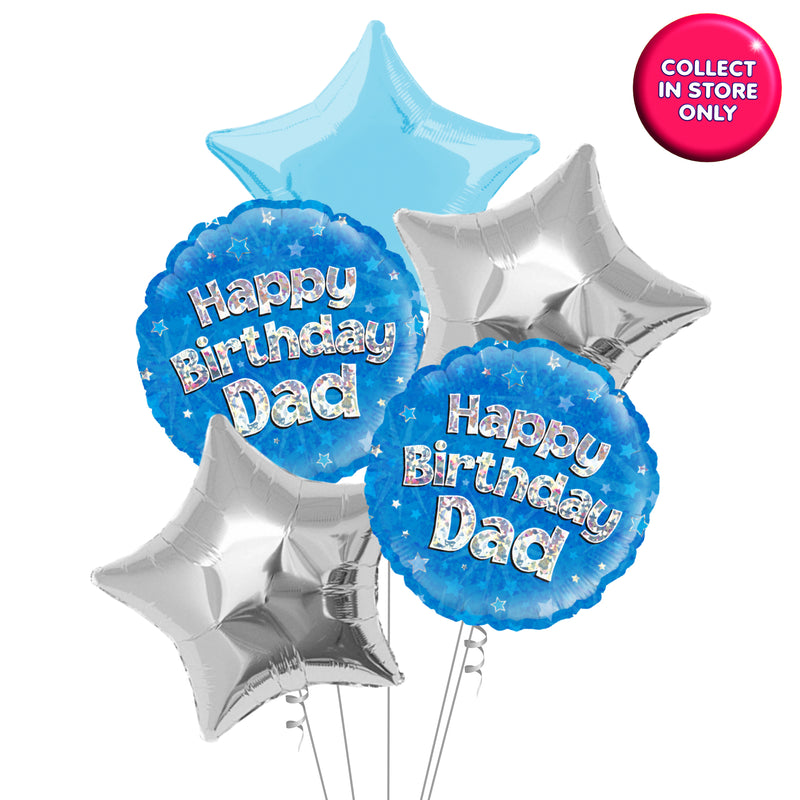 Happy Birthday Dad Holographic Balloons - Helium Inflated