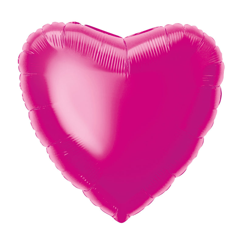 Hot Pink Heart-Shaped Foil Balloon INFLATED