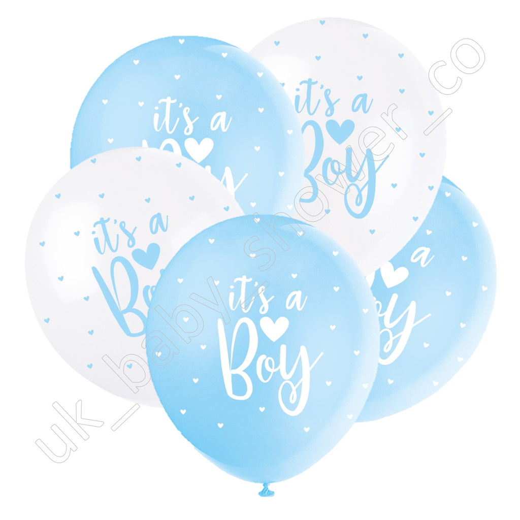 Its a Boy Blue and White Hearts Balloons