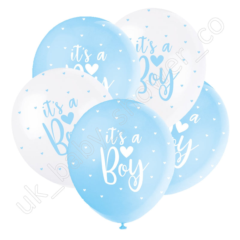 Its a Boy Blue and White Hearts Balloons - Uk Baby Shower Co ltd