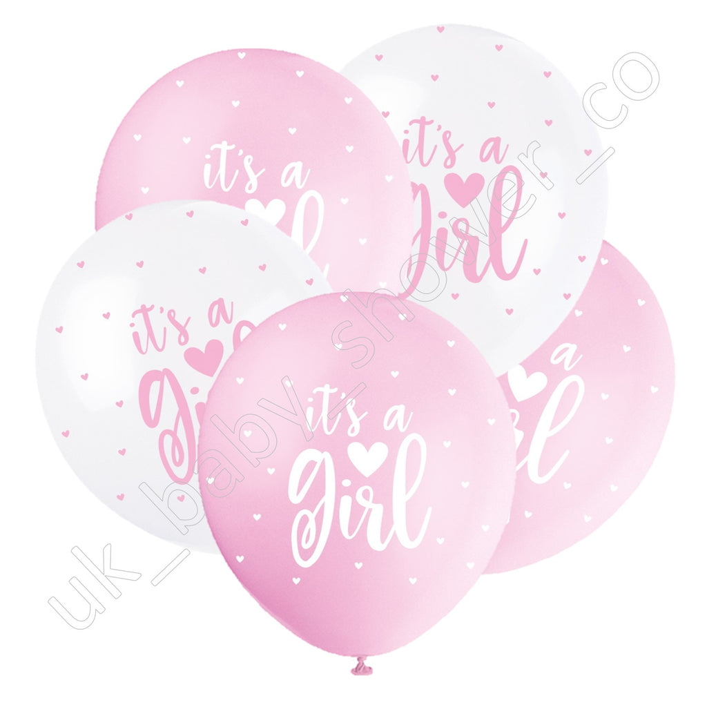 Its a Girl Pink and White Hearts Balloons