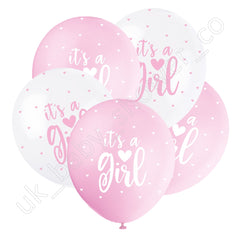 Its a Girl Pink and White Hearts Balloons - Uk Baby Shower Co ltd