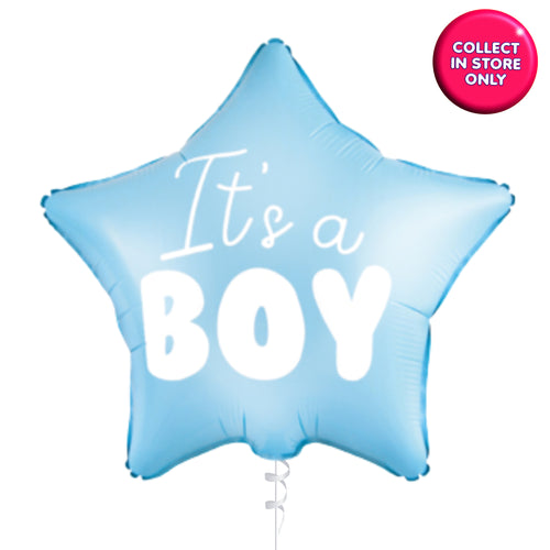 Its a Boy Blue Star Balloons Helium Inflated