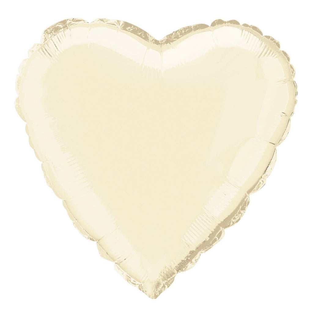 Ivory Heart-Shaped Foil Balloon INFLATED